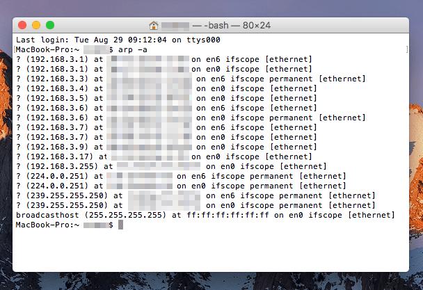 Macで同一ネットワーク(LAN)上にある機器のIPアドレスを調べる方法